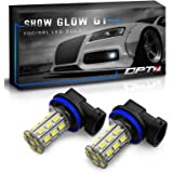 OPT7 Show Glow G1 H11 H8 H9 H16 LED Fog Light Bulbs - 6000K Cool White @225 Lms per bulb - All Bulb Sizes and Colors - Plug-n-Play (Pack of 2)
