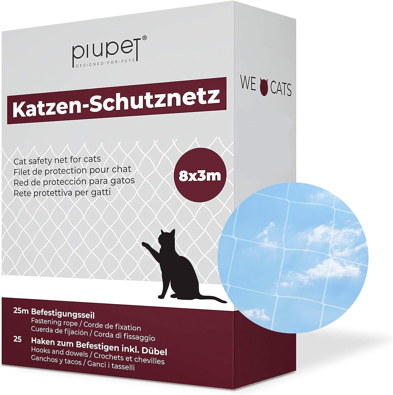 PiuPet® Red de Balcón para Gatos (Transparente), Incluye Cuerda de fijación, Extra Grande, Red de Seguridad balcónes y Ventanas, (8 x 3 m)