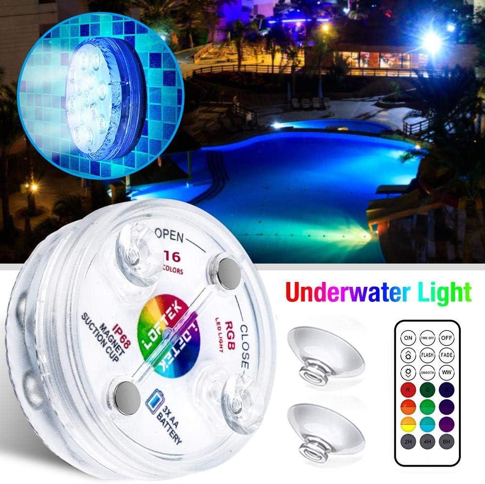 Luces de ba/ñera de hidromasaje a prueba de agua con ventosas luces de piscina bajo el agua spa de ba/ño pecera 1 pieza 16 colores brillantes 13 LED sumergibles con control remoto para estanque
