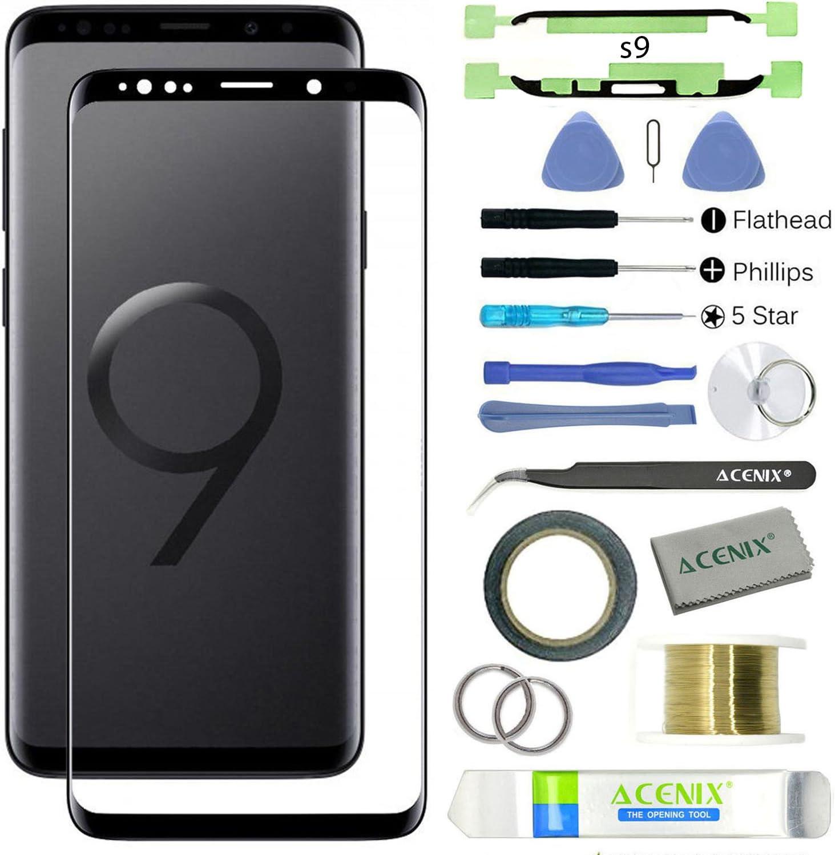 ACENIX® - Kit de reparación de lente de cristal frontal para Galaxy S9 Plus, color negro con 17 piezas de repuesto, 1 rollo de cinta adhesiva de doble cara de 2 mm