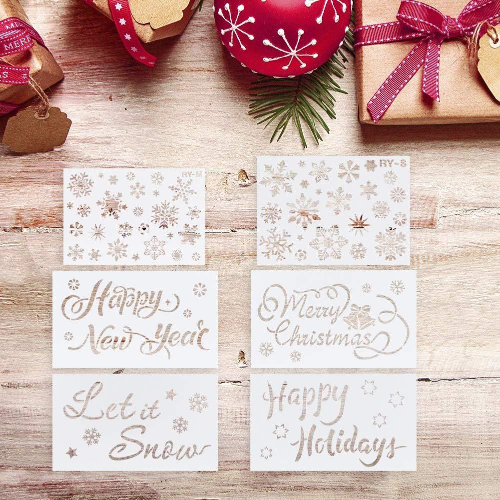 Muster f/ür DIY Handwerk Happy Holiday Let it Snow Zeichnungen 6 St/ück Frohe Weihnachten DaricowathX Weihnachtsschablonen Schablonen f/ür Weihnachten Schablonen mit Schneeflocken