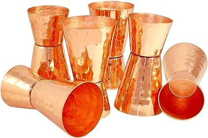 AVIRISHDH Vaso de chupito de cobre puro martillado de doble ...