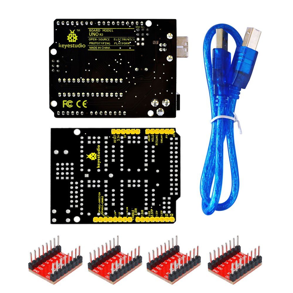 KEYESTUDIO UNO R3 CNC Kit/CNC Shield V3.0 +4pcs A4988 Stepper Motor Driver + UNO R3 ATmega328P with Usb Cable for Arduino GRBL Compatible by KEYESTUDIO (Image #2)