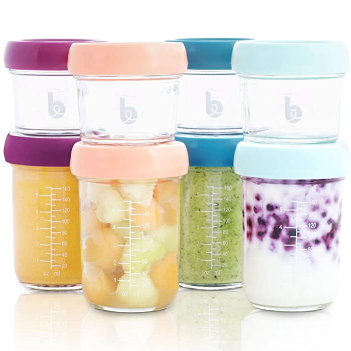 Babymoov Glass Food Storage Containers | Leak Proof Stackable & Reusable Glass Jars (Pick Your Set Size), X8