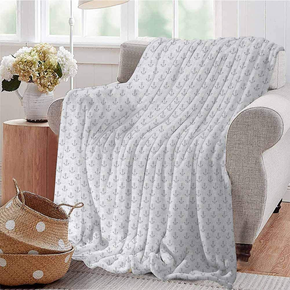 All Season Throw Blanket Simple Stylized Icons with Ocean Inspired Wave Pattern Oceanic Sea Life Grey Pale Grey White Dorm Bed Baby Cot Traveling Picnic W70 xL84