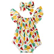 ONE'S Baby Infant Girls Pineapple Strawberry Watermelon Ruffle Romper with Headband (White, 6-12 Months)