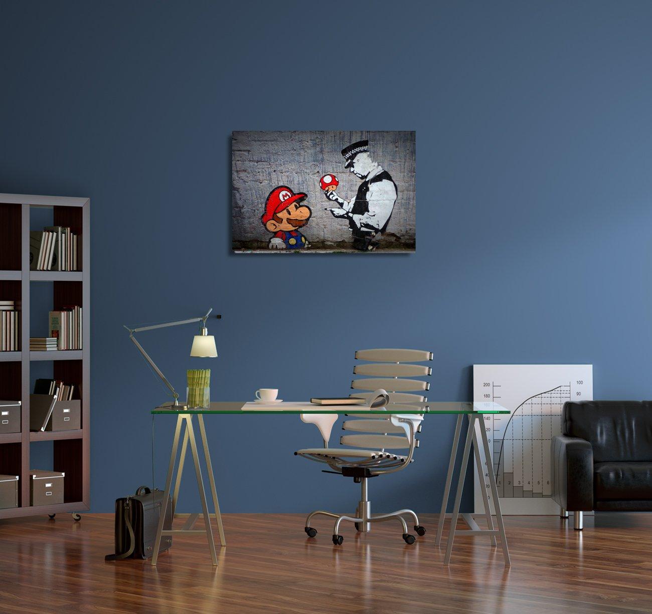Pingo World Banksy Super Mario Bros Mushroom Gallery Wrapped Canvas Wall Art 20 x 16 x 0.75