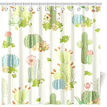 InterestPrint Cactus Decor Shower Curtain Nature Prickly Plants Succulents Flowers Polyester Fabric Bathroom 72 X Inches Long