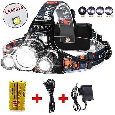 Details about  /3500 LM Zoomable 3X X LED USB 4 Modes Light Warplane Headlamp Headlamp BA