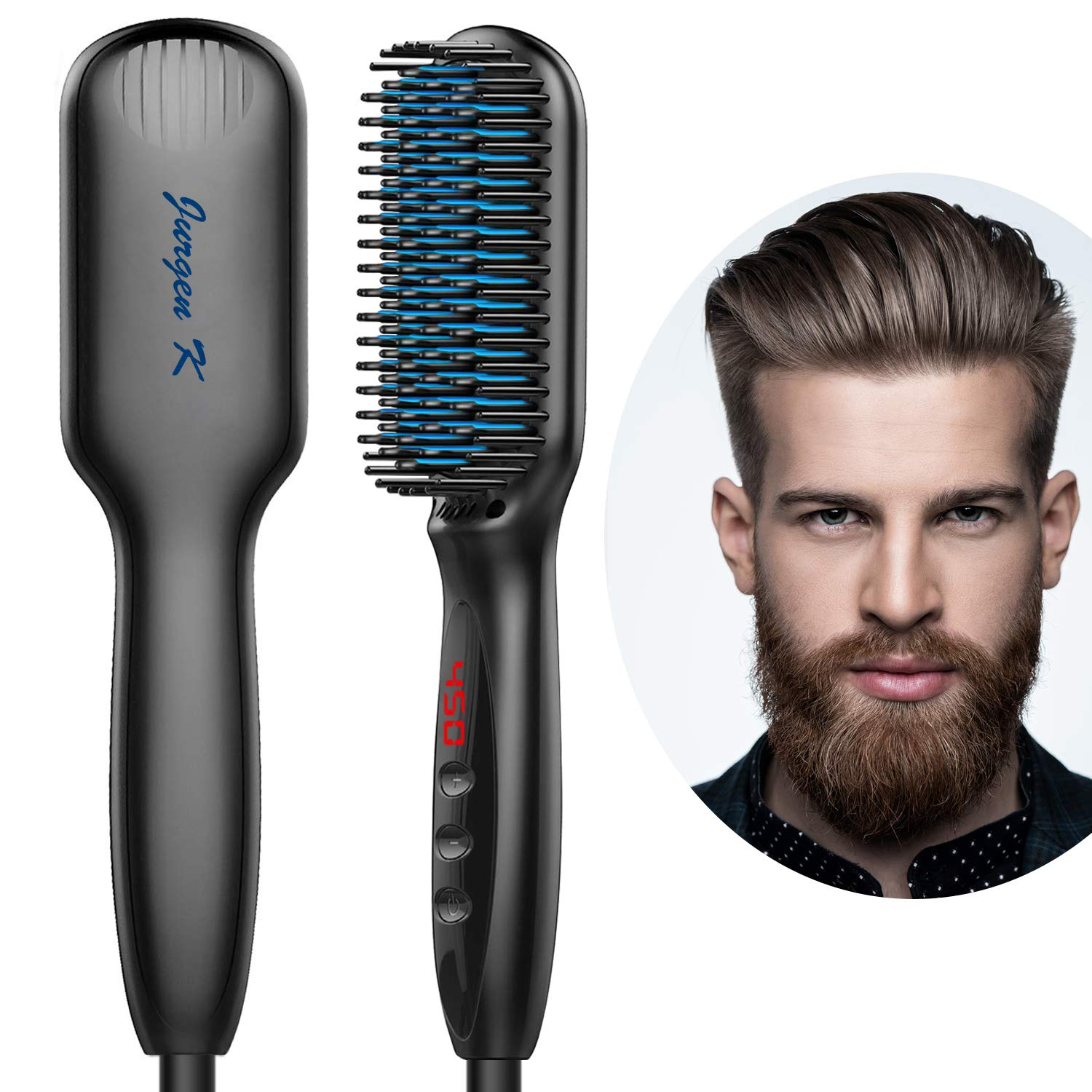 Beard Straightener for Men, Ceramic & Ionic Beard Straightening Comb with Fast Heating and Anti-Scald, Heated Hair Straightener for Women, Dual Voltage Beard Straightener Brush for Home and Travel by Jurgen K