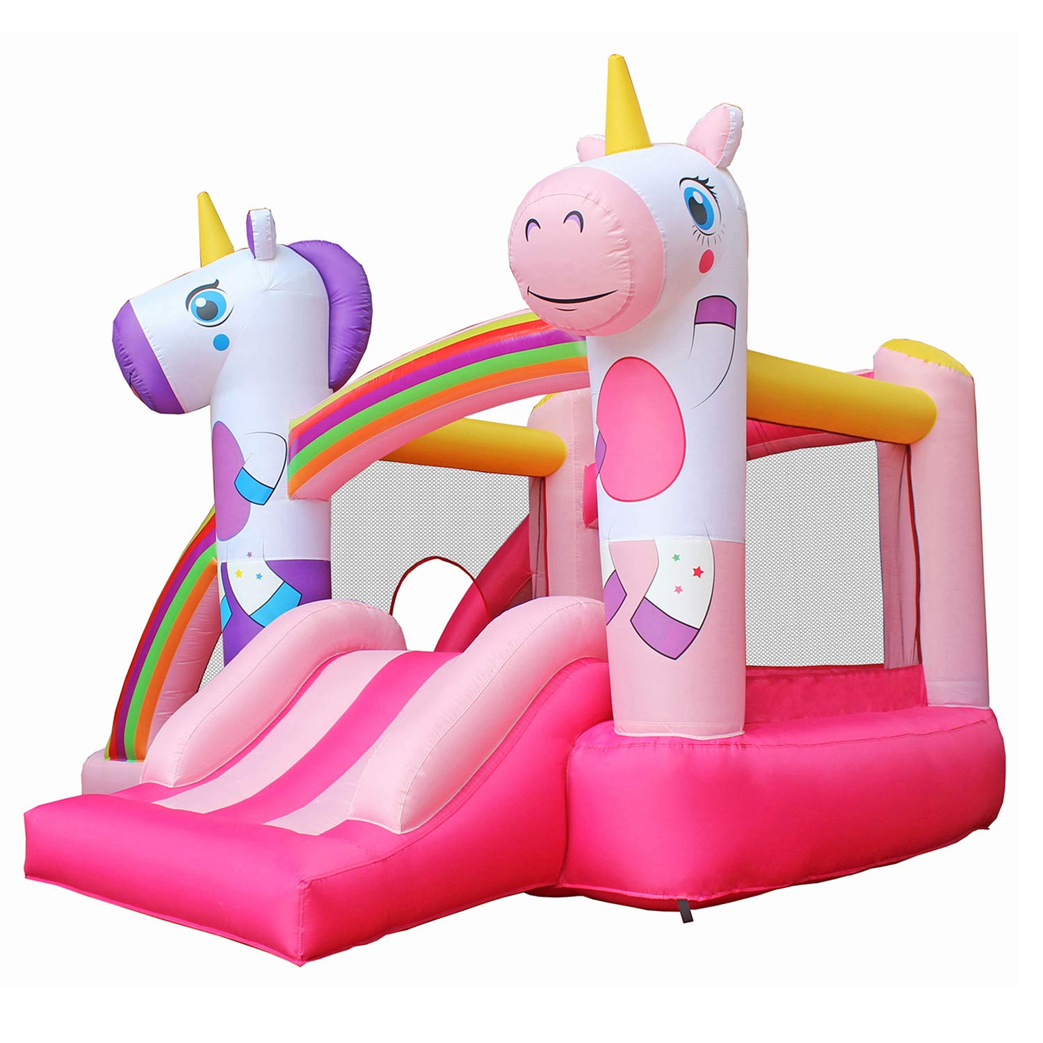 BESTPARTY Inflatable Bounce House with Slide for Princess Pink Unicorn Inflatable Bouncer House Jumper Houses by BESTPARTY (Image #2)