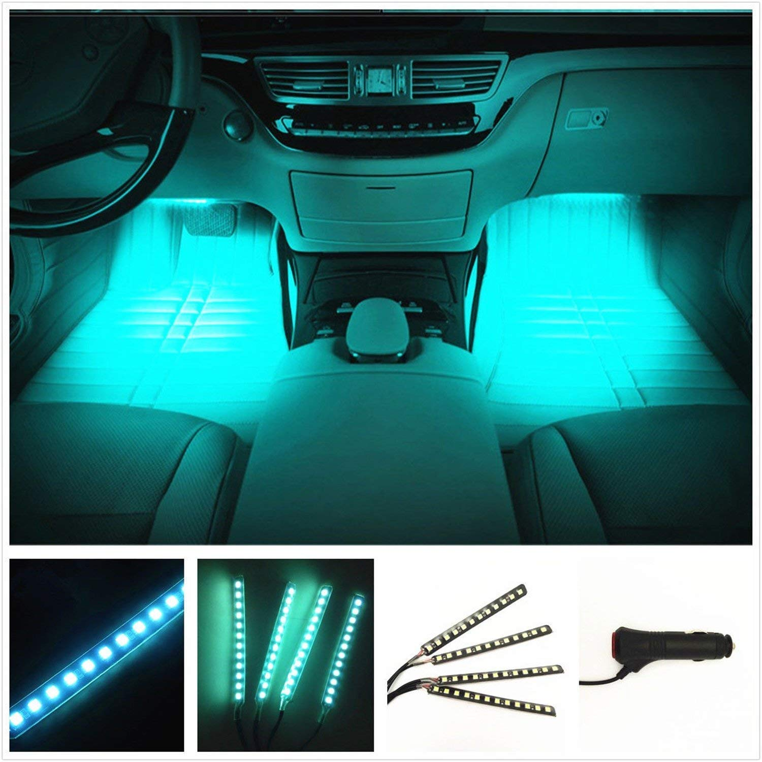 Car Interior Lights 4pcs 36 LED Car Floor Atmosphere Glow Neon lights Multi-Color Music Car LED Strip Lights Decorative Underdash Lighting Kit with Sound Active function Wireless Remote Control DC 12V Caca Auto 590EB5750BD0E6E4