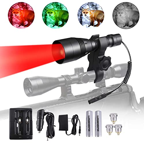 A8Plus Long Range Cree Green Red White Infrared 850nm IR Hunting Kit High Power Scope Rifle Gun Mounted Kill Light Predator Night Torch Tactical Zoomable Flashlight for Coon Coyote Hog Fox Varmint