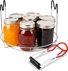 Canning Rack, Stainless Steel Steaming Canning Jar Rack with Silicone Heat Resistant Handle and Canning Lifter Tong for Jars(No Jars)