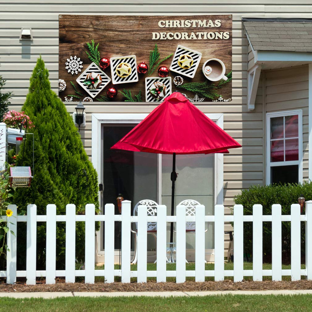 Vinyl Banner Sign Christmas Decorations #1 Style B Marketing Advertising Brown Multiple Sizes Available 44inx110in 8 Grommets One Banner