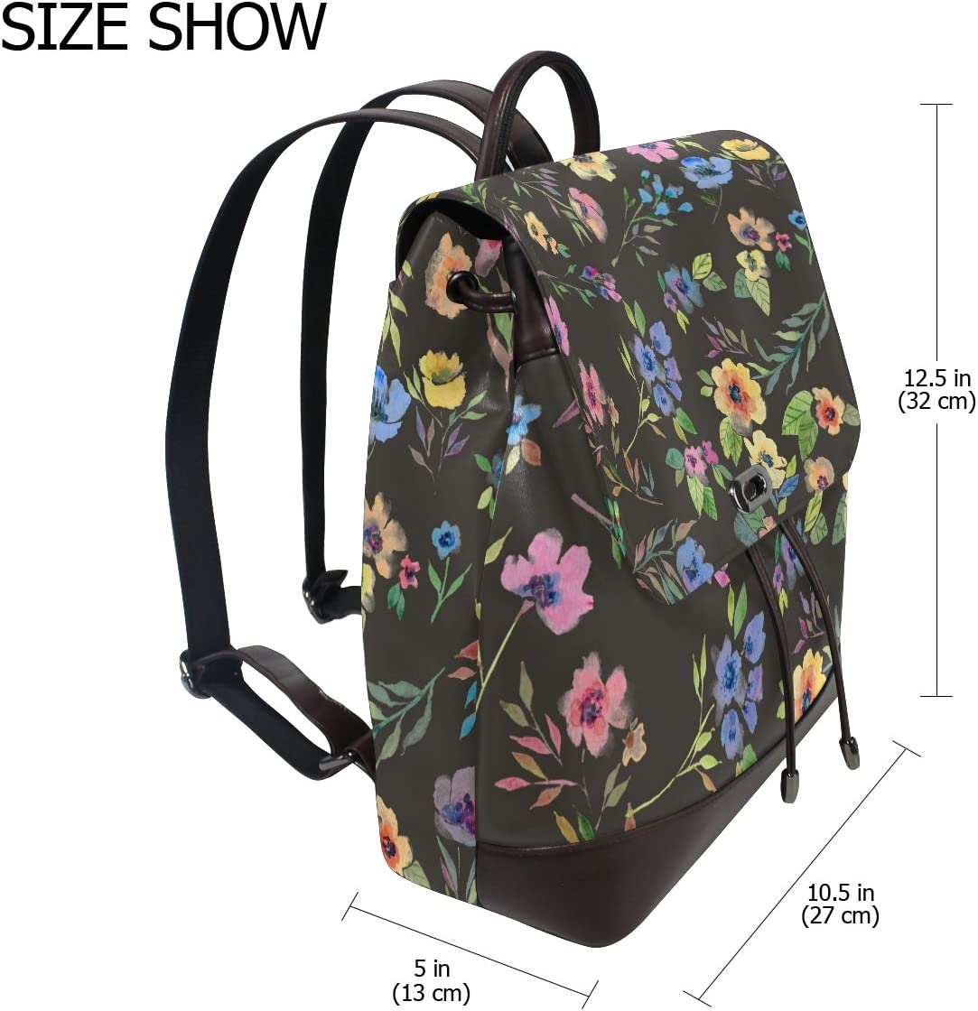 KUWT Oil Painting Colorful Flowers PU Leather Backpack Photo Custom Shoulder Bag School College Book Bag Rucksack Casual Daypacks for Women and Girl