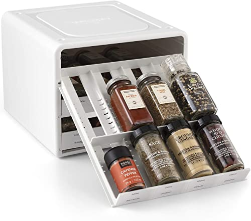 YouCopia SpiceStack Adjustable Spice Rack Organizer, New, White