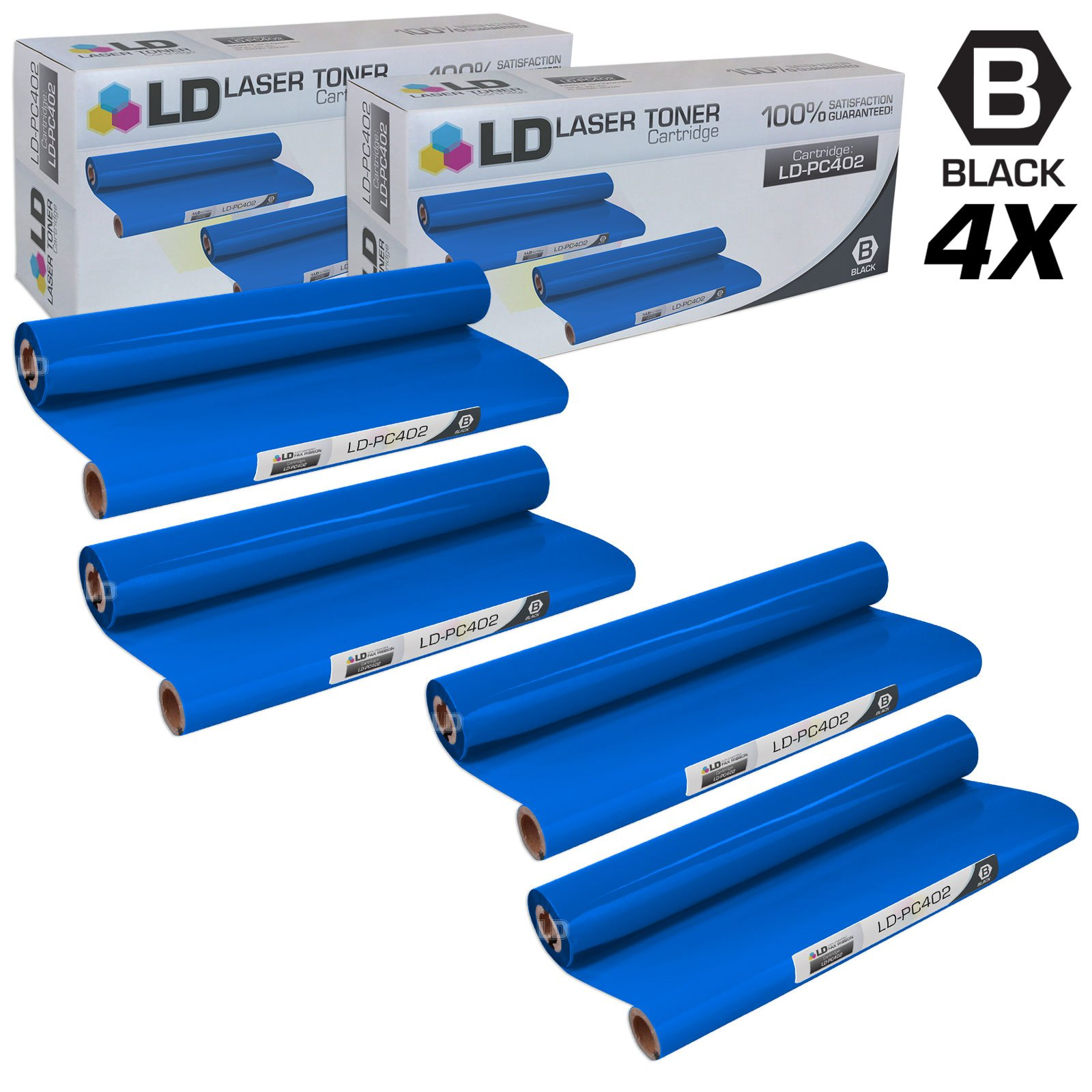 LD Compatible Replacements for Brother PC402 Set of 4 Thermal Fax Ribbon Refill Rolls for use in Brother FAX 560, FAX 575, FAX 580MC, Intellifax 560, 565, 580MC, and MFC-660MC Printers