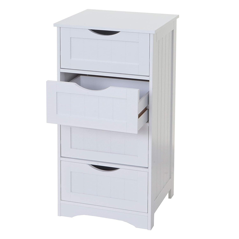 Mendler Kommode HWC-B65, Schubladenschrank Schrank, 4 Schubladen 82x40x35cm weiß