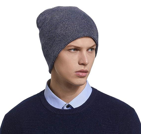 RIONA Men s Australian Merino Wool Knit Beanie Hat Warm Winter Skull Caps  Headwear (Navy) 5c826a4eb5b6