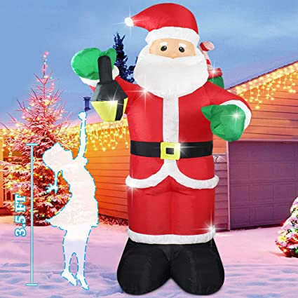 size 40 5e0b0 1d798 Fanshunlite Christmas Inflatable 6FT Santa Claus Carry Gift Box Lighted  Blow-Up Yard Party Decoration for Xmas Airblown Inflatable Outdoor Indoor  Home ...