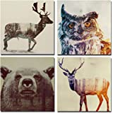 Modern Wildlife Animal Wall Art, Double-exposure Elk, Owl, Bear and Sika Deer Landscape Picture Painted on Canvas, Stretched and Framed for Home Decoration