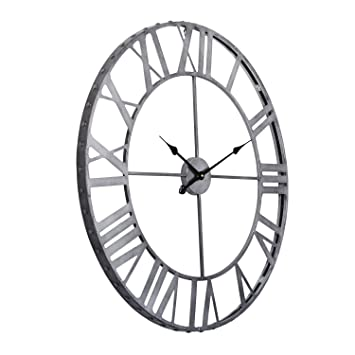utopia alley roman rivet edge industrial wall clock pewter australia vintage antique clocks for sale