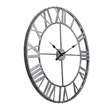utopia alley roman rivet edge industrial wall clock pewter australia vintage antique clocks for sale