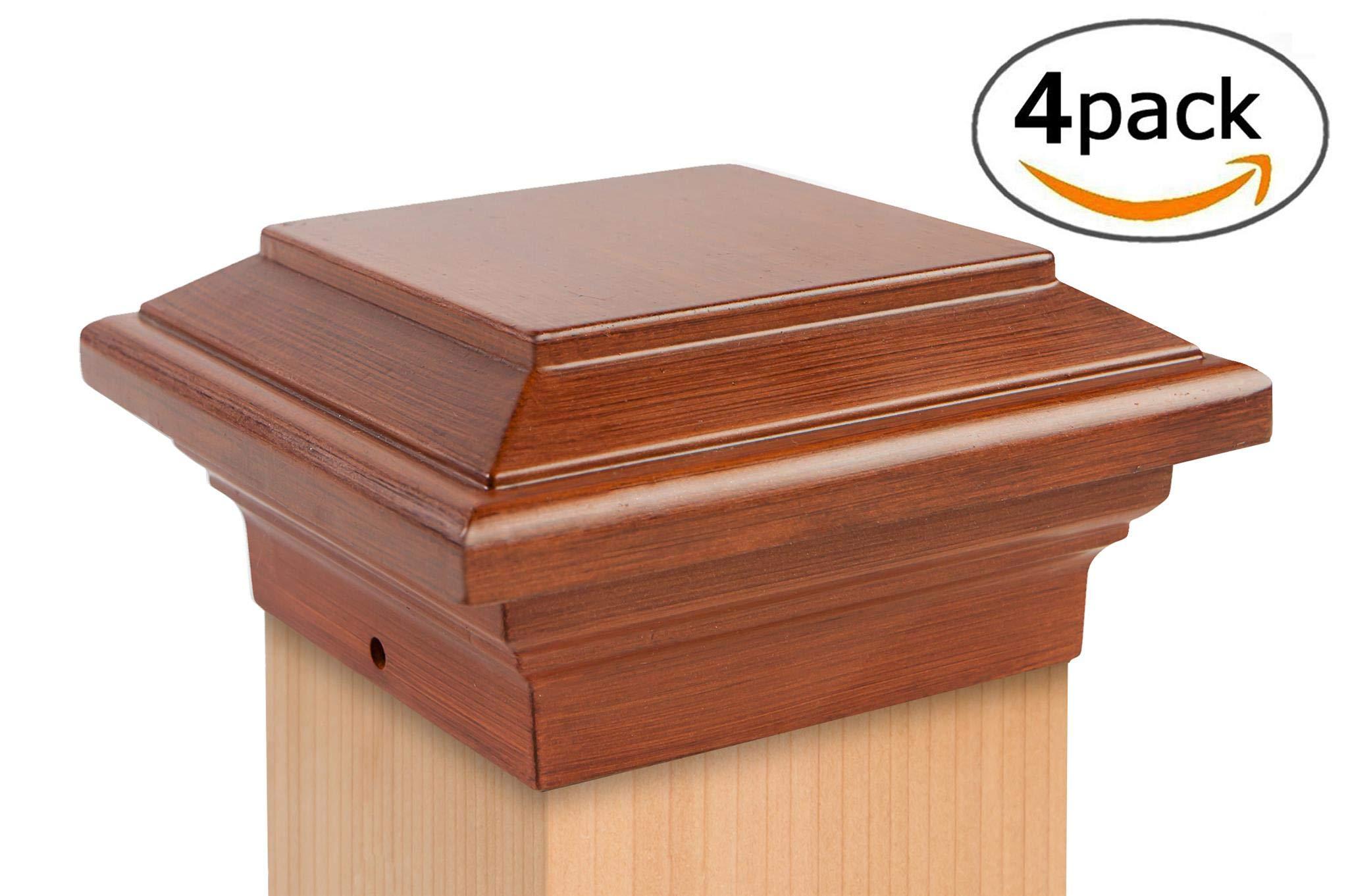 Aluminum Flat Top Post Cap (3-1/2'' x 3-1/2'') Natural Brown - 4 Pack