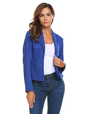 e08be815275fe Venena Women Lightweight Open Front Blazer Wear to Work Tops Outerwear(Blue