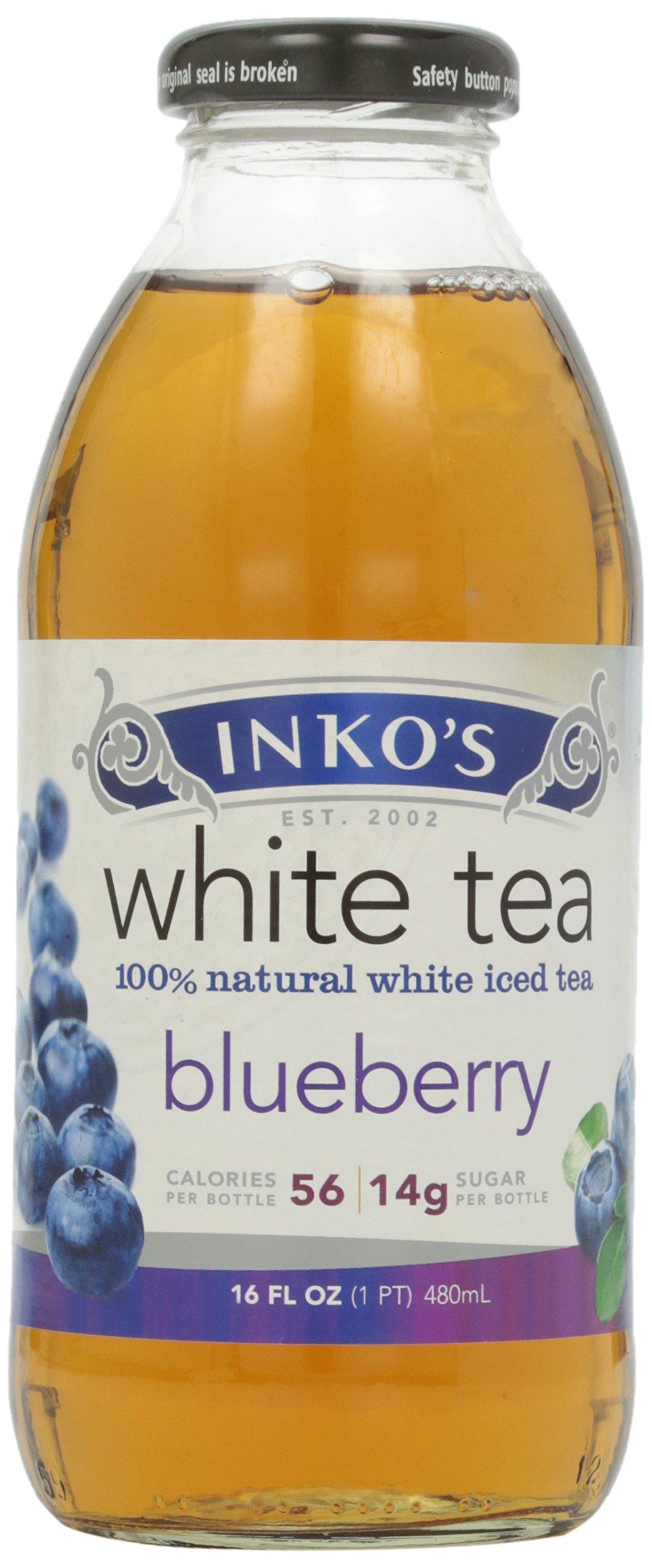 Inko's Iced White Tea, Blueberry, 16 oz