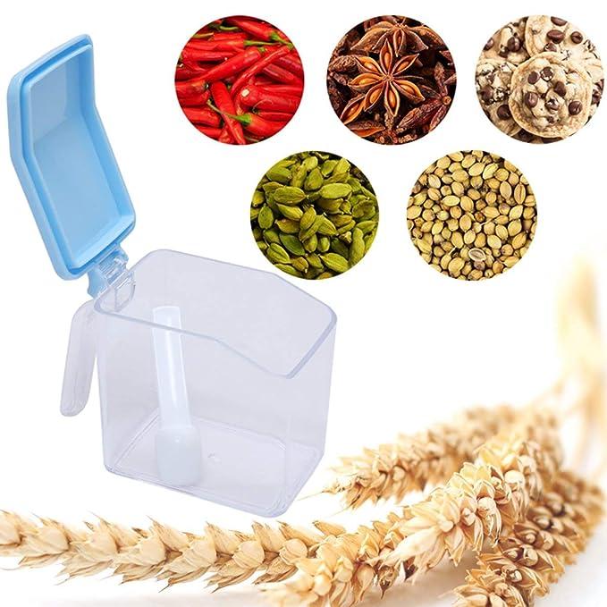 ... de 4 Jarras Tapas Coloridas Cucharas Montura Pared Autoadhesiva Diseño Más Elegante Organizar Especias Cocina Caja Contenedor Cereal: Amazon.es: Hogar