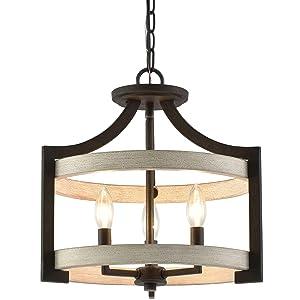 "Kira Home Woodrow 15"" 3-Light Industrial Farmhouse Semi Flush Convertible Pendant Light with Drum Shade, White Wood Style + Textured Black Finish"