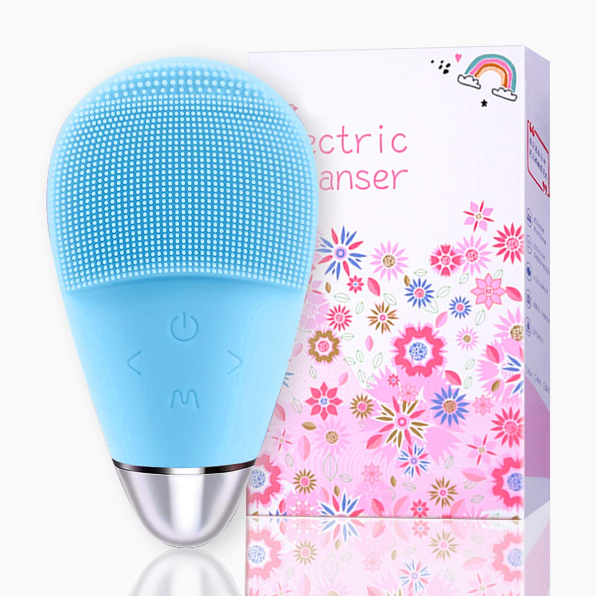 Silicone Facial Cleansing Brush,Alivin Waterproof Silicon Facial Cleaner Electric Masager Cleansing System for Deep Cleansing Skin Care,Gentle Exfoliating