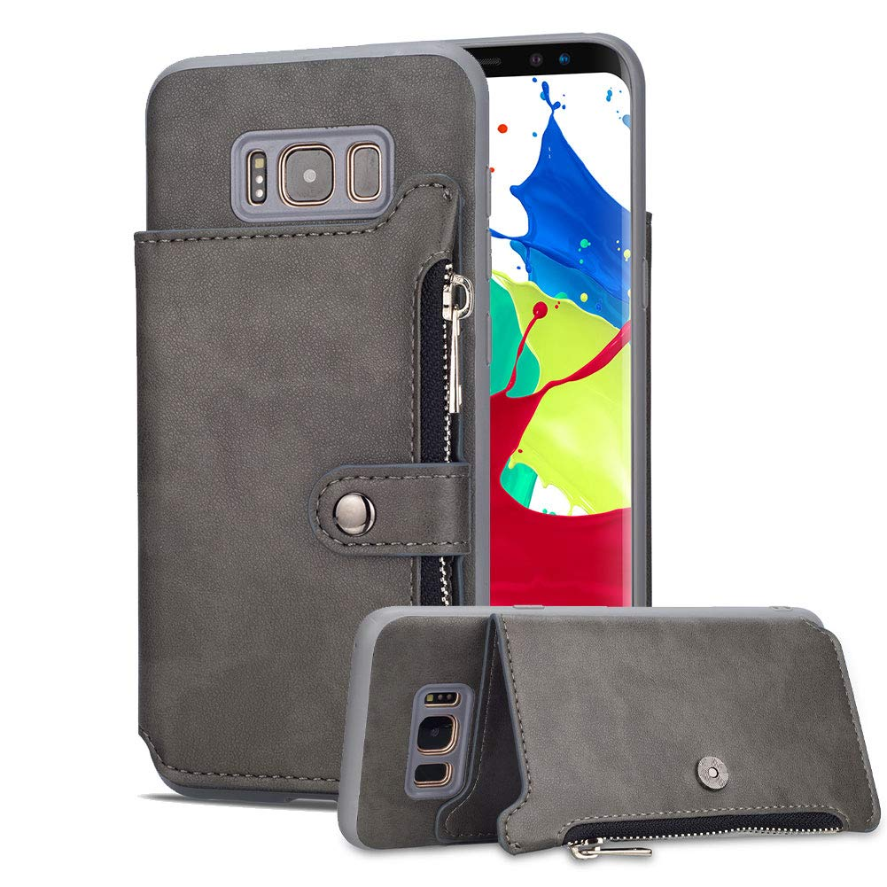 Aearl Samsung Galaxy Note 9 Zipper Wallet Case,Galaxy Note 9 Leather Case with Card Holder,Flip Folio Credit Card Slot Money Pocket Magnetic Detachable Buckle Wallet Phone Case for Women Men-Gray
