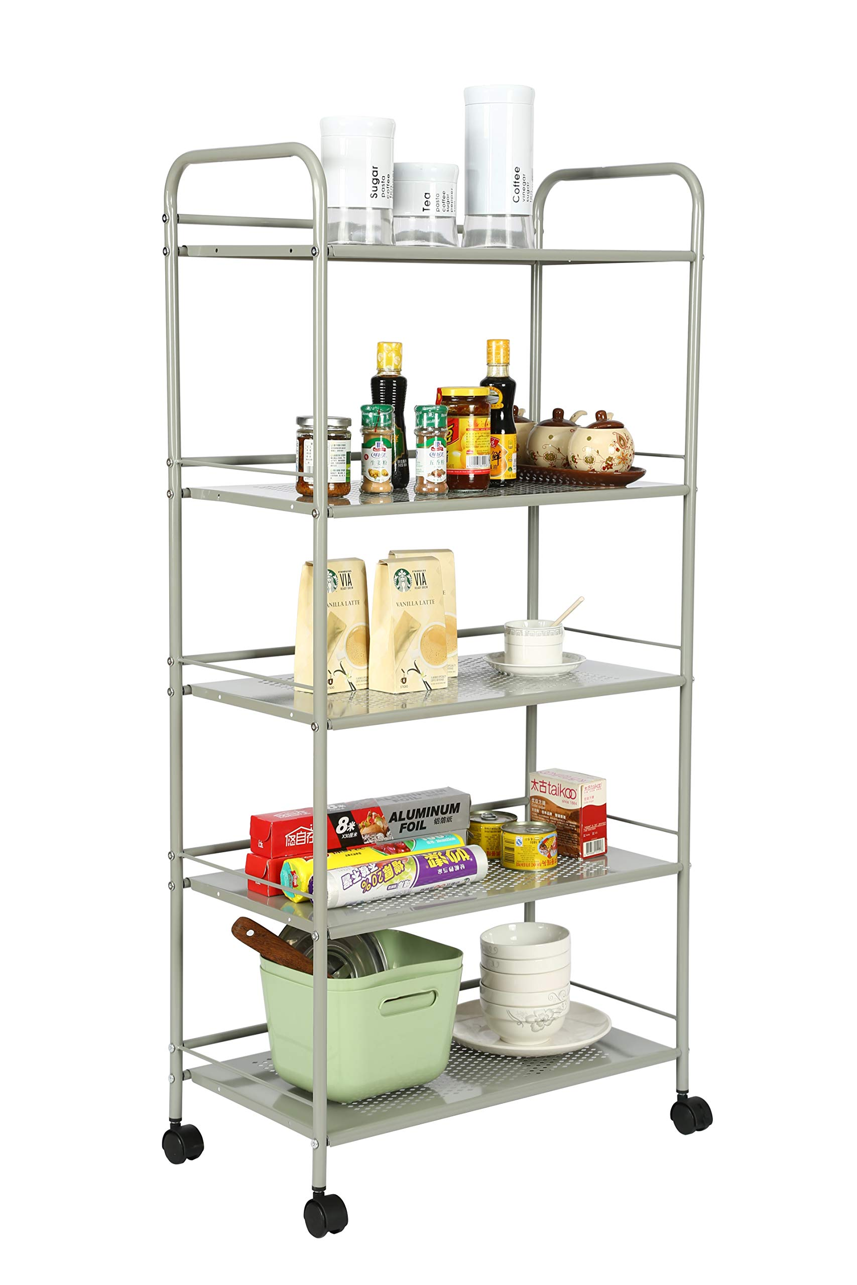 Homebi Kitchen Trolley Rolling Cart Metal Storage Rack Shelving Units for Cooking Utensils and Food Storage with Wheels (5-Tier)