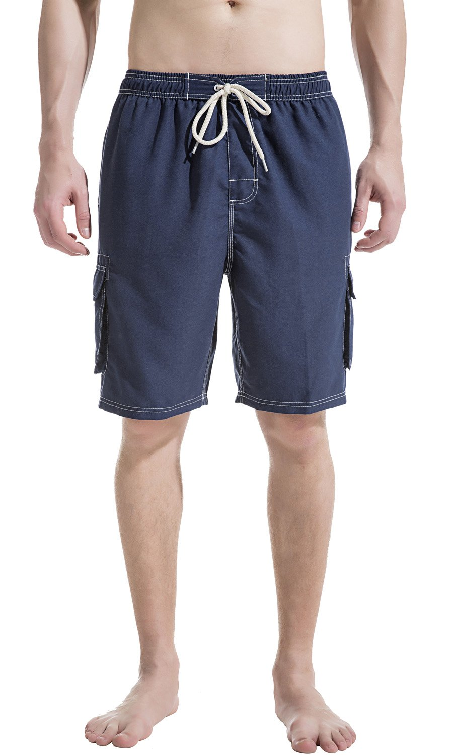 Akula Quick Dry Swim Trunks Beach Shorts with Mesh Lining Surf Board Shorts Navy Size L