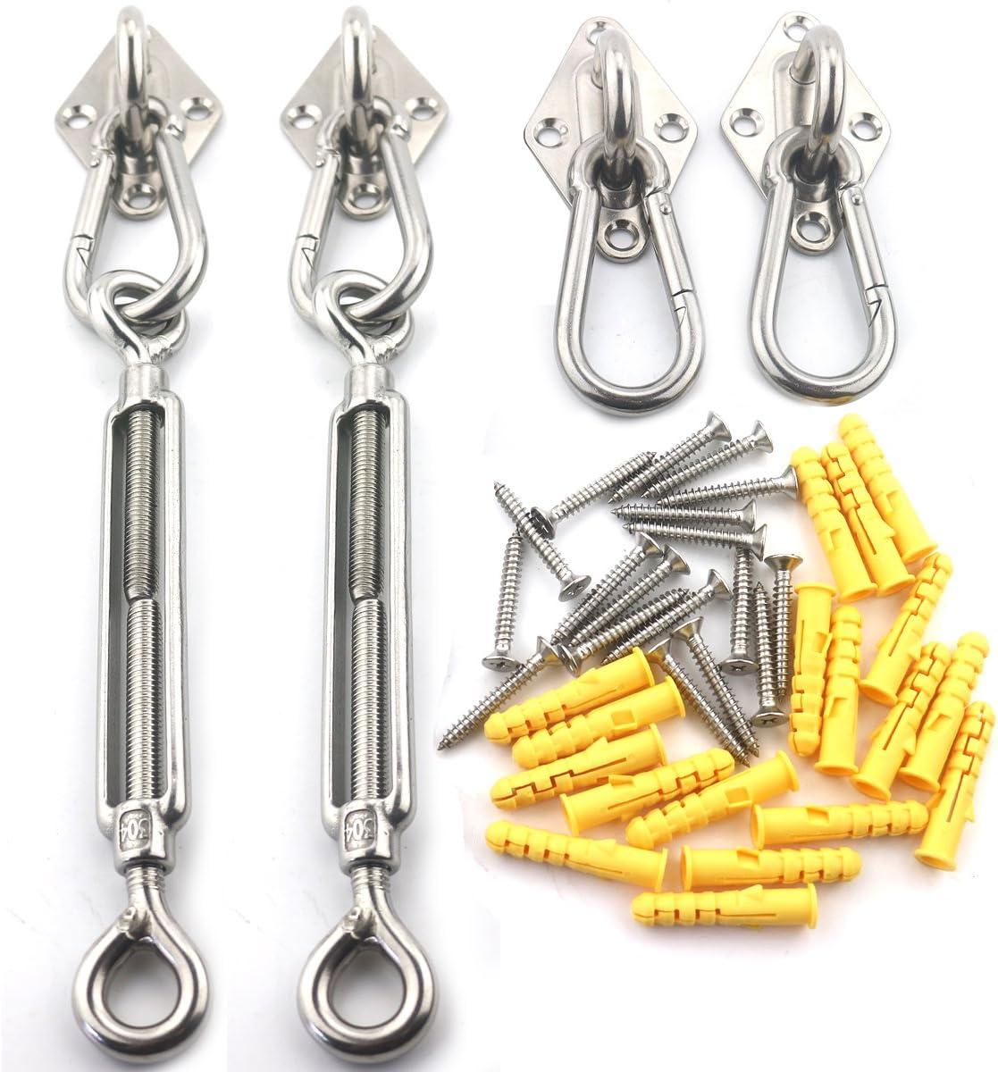 Morzejar Kit de fijaci/ón de toldo resistente de acero inoxidable 304 juego de accesorios de instalaci/ón para toldos tri/ángulo y cuadrado kit de accesorios de instalaci/ón de 40 piezas