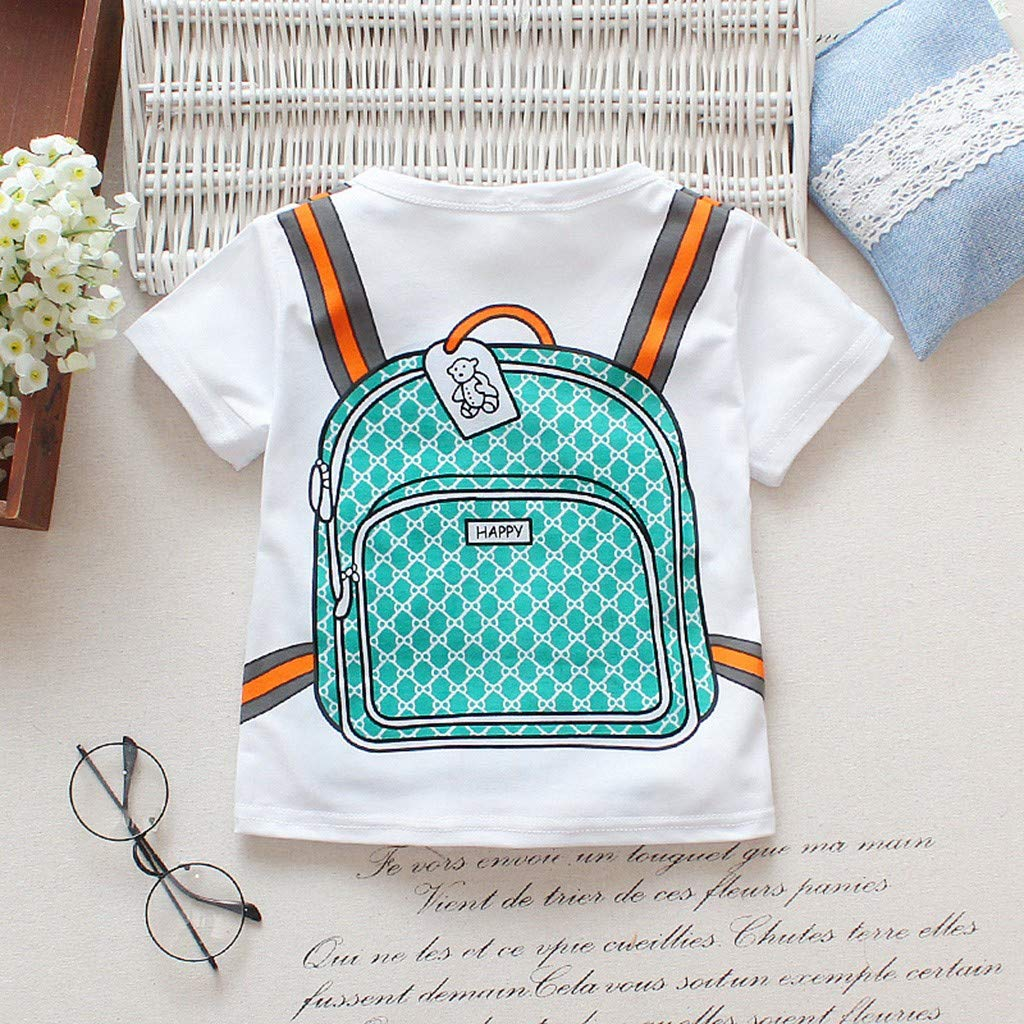 Boys Summer 2 Piece Sets,Jchen Baby Boy Short Sleeve Cartoon Schoolbag T-Shirt+Stripe Shorts Casual Outfits for 1-4 Yrs