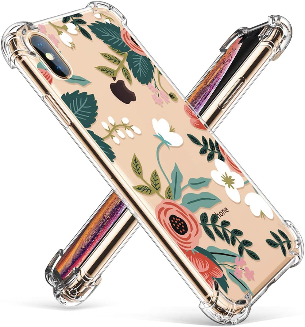 "GVIEWIN Compatible for iPhone Xs Case, iPhone X Case, Clear Floral Pattern Soft TPU Thin Shock Absorption Bumper Transparent Cover, Anti-Scratch Cases for iPhone X/iPhone 10 5.8"" (Petite Flowers/Pink)"