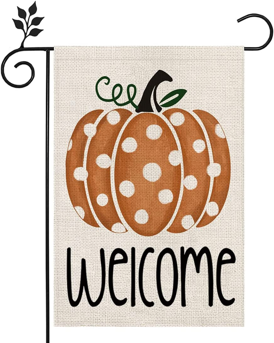 CROWNED BEAUTY Fall Welcome Garden Flag Pumpkin Thanksgiving 12×18 Inch Double Sided Vertical Yard Thanksgiving Seasonal Holiday Outdoor Decor CF257-12