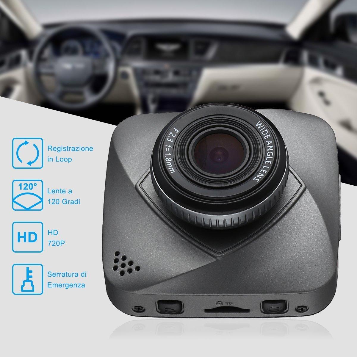 isYoung Dash Cam per Auto, Dashcamera Telecamera per Auto Full HD 720P, Recorder Obiettivo Grandangolo 120° Rilevatore Display Movimento, Visione Notturna,  G-Sensore e Schermo LCD - Grigio