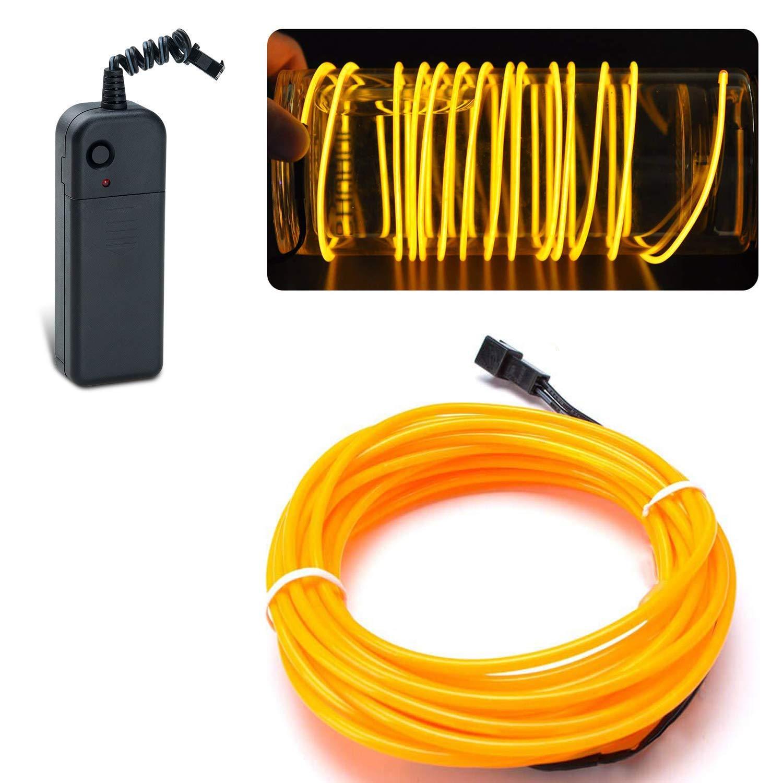 f/ête avec la bo/îte /à pile pour soir/ée EL wire Lychee 15 pieds 5m Fil n/éon Etincelant Fil Electroluminescent rose