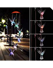 Solar LED Color-Changing Wind Chime Hummingbird Mobile Wind Chimes Gift for Home Garden Decor Patio Yard