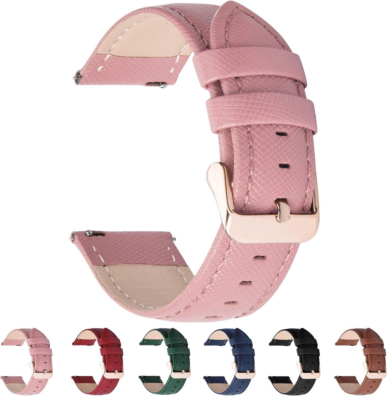 Fullmosa 6 Colores para Correa de Reloj, Cross Piel Correa Huawei Samsung Correa/Banda/Band/Pulsera/Strap de Recambio/Reemplazo 18mm 20mm 22mm 24mm,Rosada 20mm