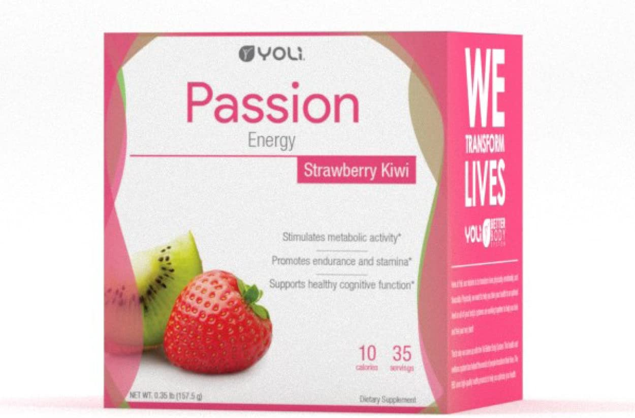 Yoli Passion Energy Drink – Sugar Free – Sweetwened with Stevia – Long Lasting Healthy Energy Without Jitters Box, Kiwi Strawberry