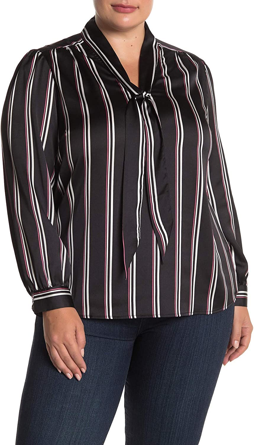 Laundry by Shelli Segal Stripe Print Tie Front Blouse Plus Size 16W Malaga Black Pink White