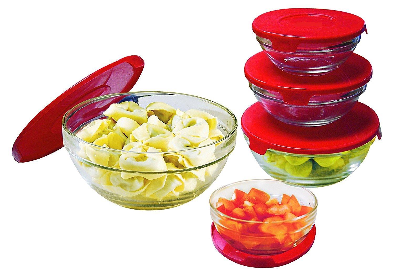 Set de 5 Bowls Cuencos de cristal con tapas SE-8008 RED