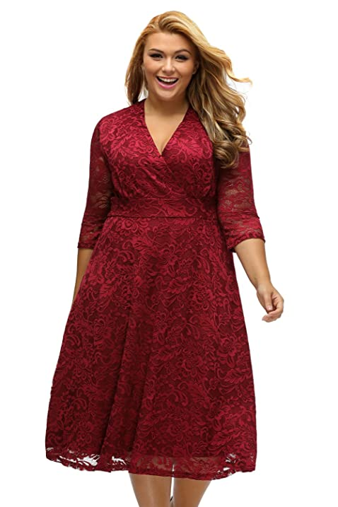 LittleLittleSky Womens Autumn Plus Size Surplice Lace Half Sleeve Formal Evening Dresses ((US 22