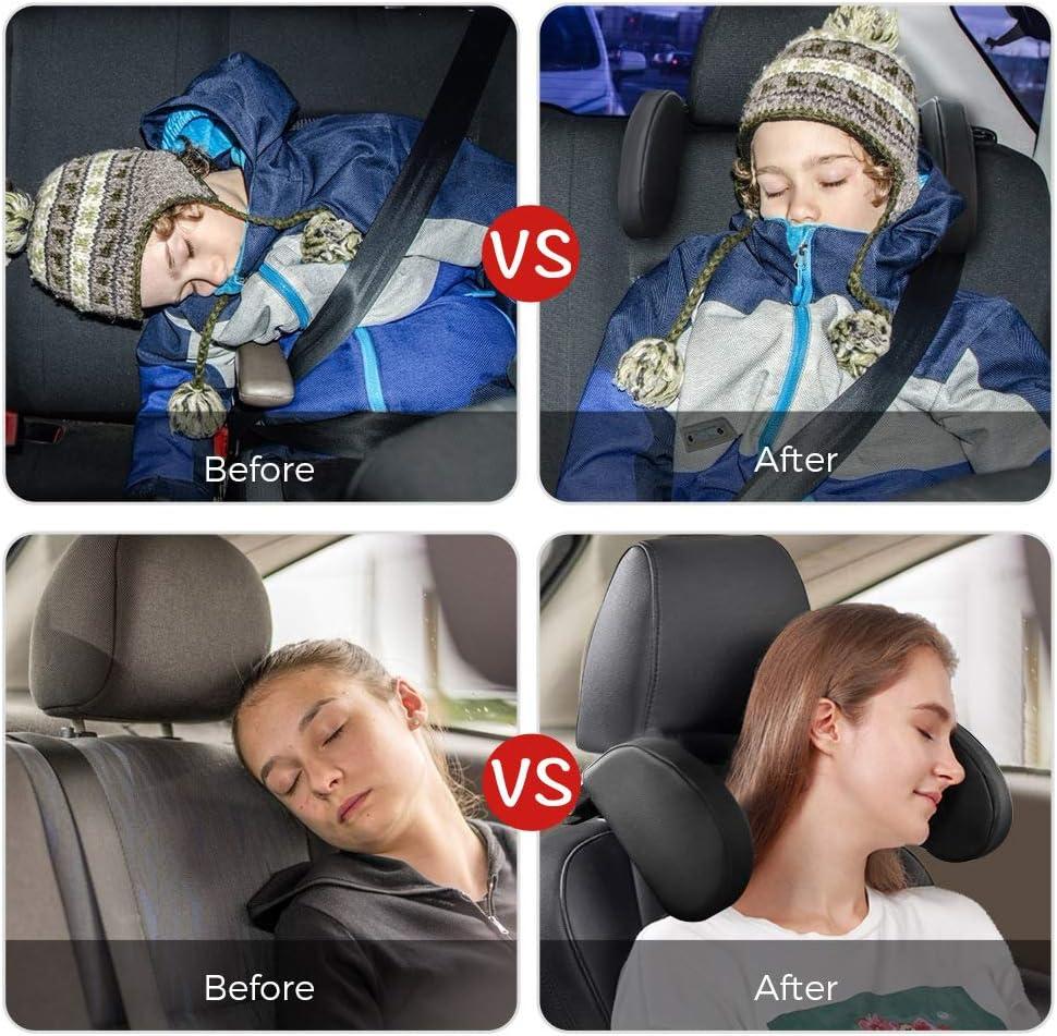 Einziehbare Kopfst/ützkissen f/ür Kinder Erwachsene Nackenst/ütze Atmungsaktiv Schwarz Verstellbar Auto Kopfst/ütze Nackenst/ütze Kinder